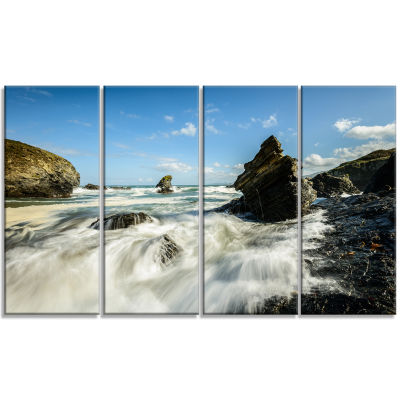 Designart Roaring Atlantic Rocky Coast Seascape Canvas Art Print - 4 Panels