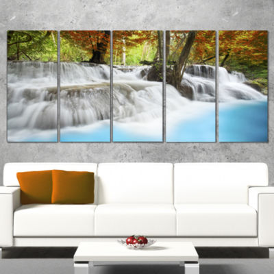 Roaring Erawan Waterfall Landscape Art Print Canvas - 5 Panels