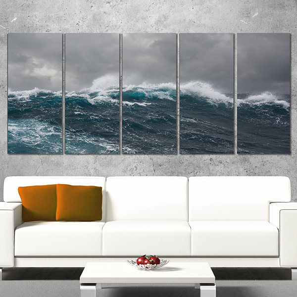 Designart Roaring Waves Under Cloudy Sky SeascapeCanvas ArtPrint - 5 Panels