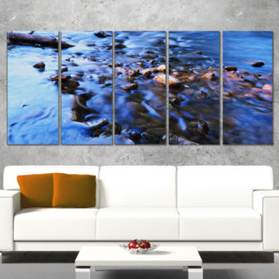 Designart Rock Blue River Panorama Oversized BeachCanvas Artwork - 4 Panels