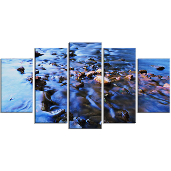Rock Blue River Panorama Oversized Beach Wrapped Canvas Artwork - 5 Panels
