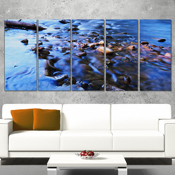 Rock Blue River Panorama Oversized Beach Canvas Artwork - 5 Panels