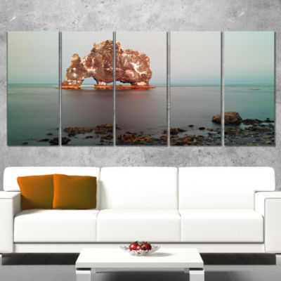 Designart Rock Sea Symbol in Iceland Extra Large Seashore Canvas Art - 4 Panels