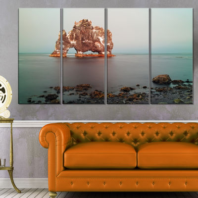 Rock Sea Symbol in Iceland Extra Large Seashore Canvas Art - 4 Panels