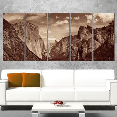 Designart Rocks and Forest in Black and White Landscape Canvas Art Print - 5 Panels