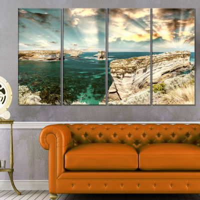 Rocks At Great Ocean Road Victoria Extra Large Seascape Art Canvas - 4 Panels