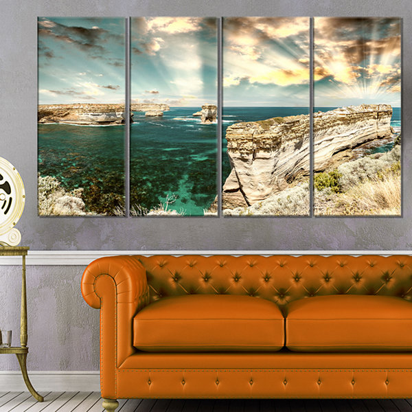 Designart Rocks At Great Ocean Road Victoria ExtraLarge Seascape Art Canvas - 4 Panels