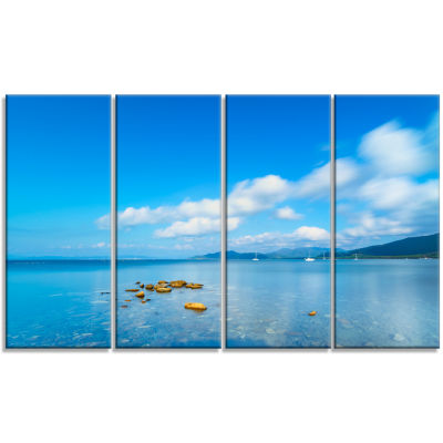 Rocks in A Blue Panoramic Sea Bay Extra Large Seashore Canvas Art - 4 Panels