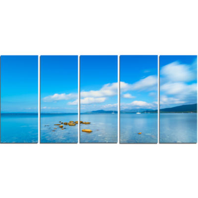 Rocks in A Blue Panoramic Sea Bay Extra Large Seashore Canvas Art - 5 Panels