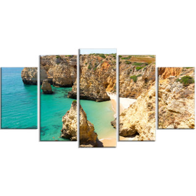 Rocky and Rough Portugal Bay Extra Large SeashoreWrapped Canvas Art - 5 Panels
