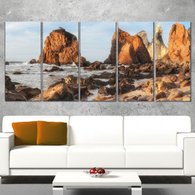 Designart Rocky Atlantic Coast in Brown Large Seascape Art Wrapped Canvas Print - 5 Panels