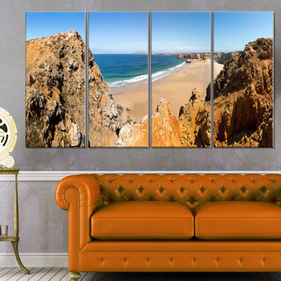 Designart Rocky Bay Portugal Panorama Landscape Canvas Art Print - 4 Panels