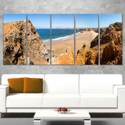 Rocky Bay Portugal Panorama Landscape Wrapped Canvas Art Print - 5 Panels