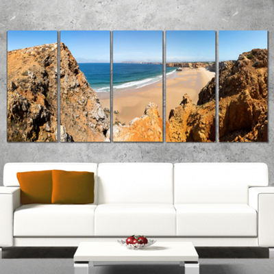 Designart Rocky Bay Portugal Panorama Landscape Canvas Art Print - 5 Panels