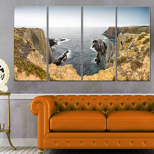 Designart Rocky Bay Portugal Panorama Oversized Beach CanvasArtwork - 4 Panels
