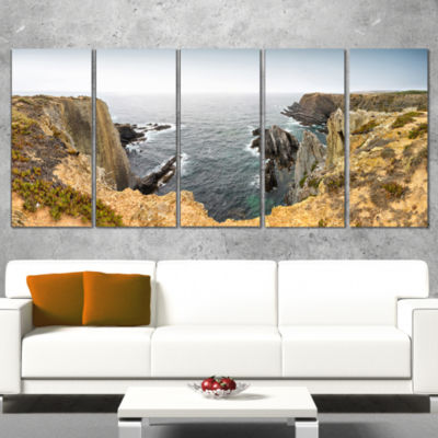 Designart Rocky Bay Portugal Panorama Oversized Beach Wrapped Canvas Artwork - 5 Panels