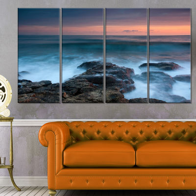 Designart Rocky Beach and White Waves Large Seashore CanvasPrint - 4 Panels