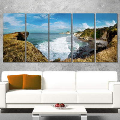 Designart Rocky Beach on The Sumba Island Large Seascape ArtWrapped Canvas Print - 5 Panels