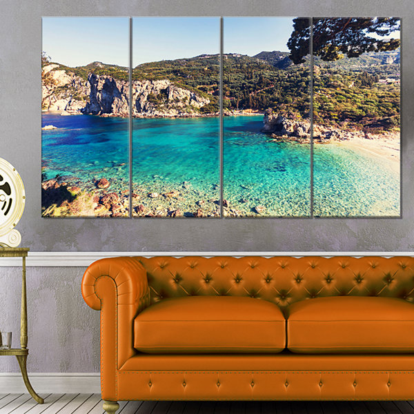 Rocky Beach With Turquoise Water Beach Photo Canvas Print - 4 Panels