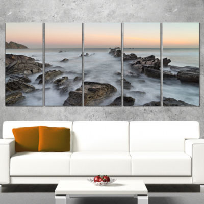 Rocky Beach With White Waters Modern Seashore Wrapped Canvas Art - 5 Panels