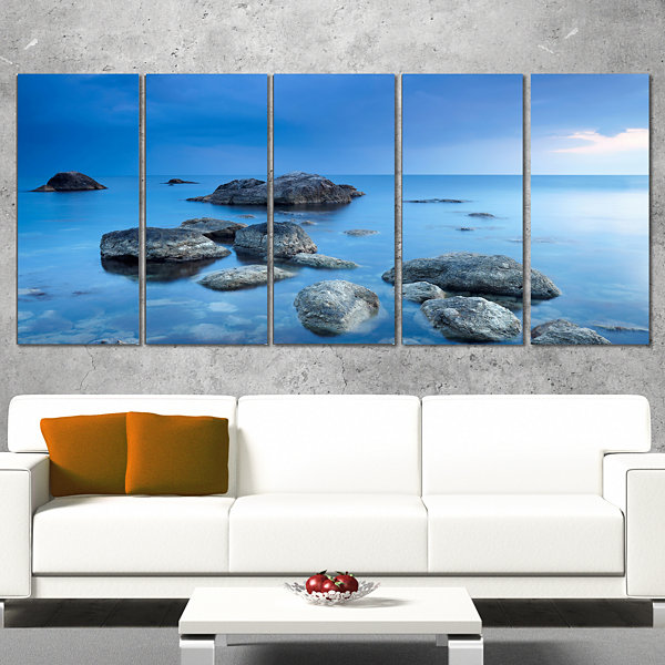 Designart Rocky Blue Sea Seascape Photography Canvas Art Print - 5 Panels