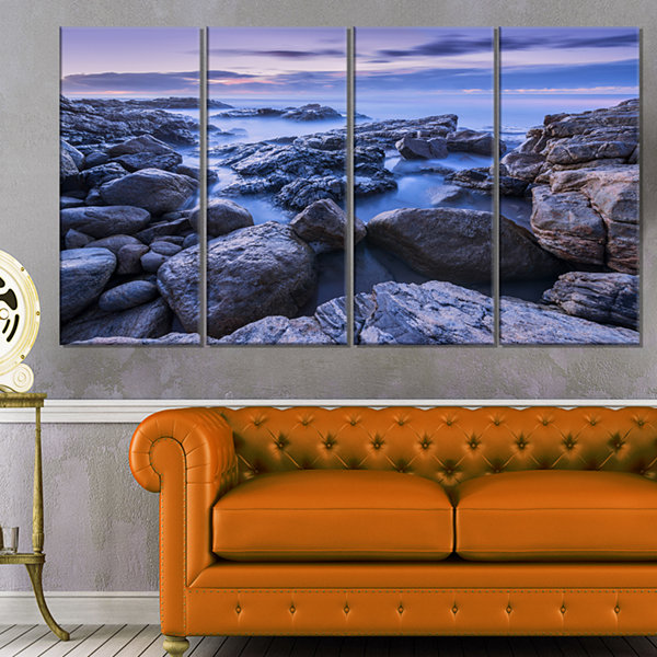 Designart Rocky Blue Seashore in Morning Modern Seascape Canvas Artwork - 4 Panels