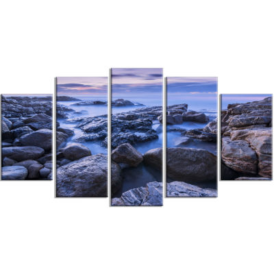 Rocky Blue Seashore in Morning Modern Seascape Wrapped Canvas Artwork - 5 Panels