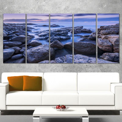 Designart Rocky Blue Seashore in Morning Modern Seascape Wrapped Canvas Artwork - 5 Panels