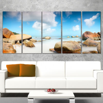 Designart Rocky Blue Seashore Panorama Extra LargeWall ArtLandscape - 5 Panels