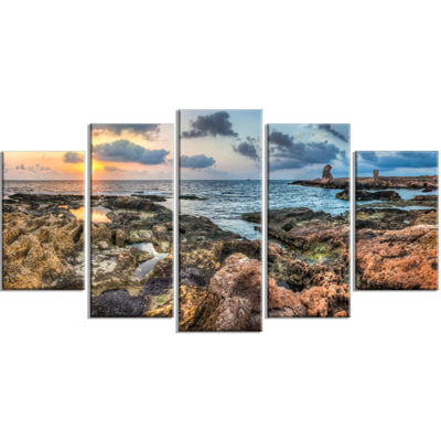 Designart Rocky Blue Seashore Sunset Extra Large Seashore Wrapped Canvas Art - 5 Panels