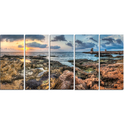 Designart Rocky Blue Seashore Sunset Extra Large Seashore Canvas Art - 5 Panels