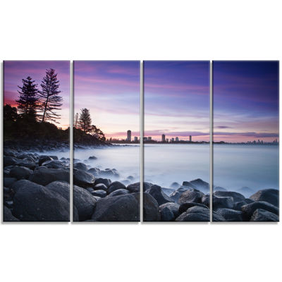 Designart Rocky Burleigh Point in Blue Extra LargeSeascapeArt Canvas - 4 Panels