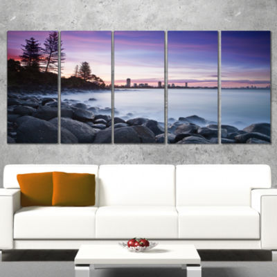 Rocky Burleigh Point in Blue Extra Large SeascapeArt Canvas - 5 Panels