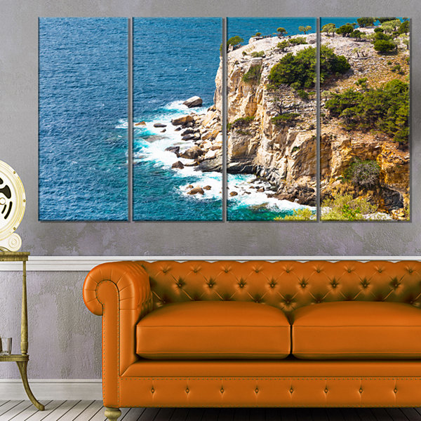 Designart Rocky Cliff Coast Thassos Greece Extra Large Seashore Canvas Art - 4 Panels
