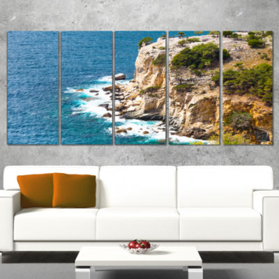 Designart Rocky Cliff Coast Thassos Greece Extra Large Seashore Wrapped Canvas Art - 5 Panels