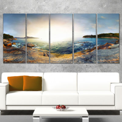 Designart Rocky Coast in andaman Sea Landscape Wrapped Canvas Art Print - 5 Panels