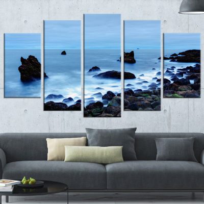 Rocky Coast Near Raykjanes Extra Large Seashore Wrapped Canvas Art - 5 Panels