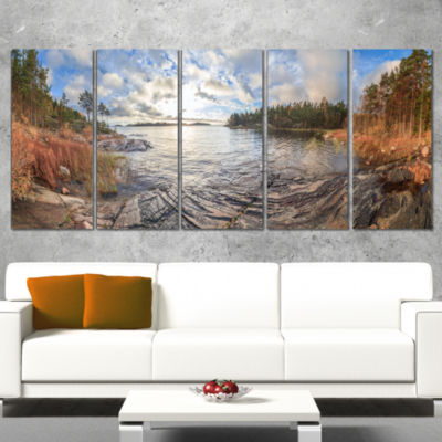 Designart Rocky Coast of Autumn Lake Extra Large Seashore Canvas Art - 5 Panels