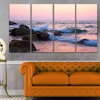 Designart Rocky Coast With Foam Waves Large Seashore CanvasPrint - 4 Panels