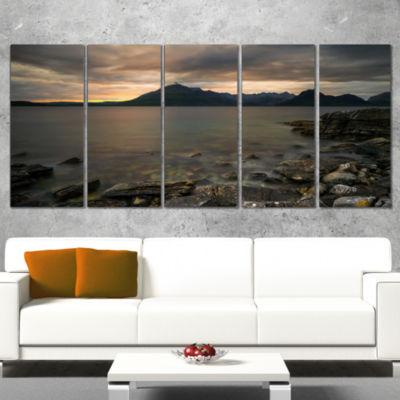Designart Rocky Coastline of Loch Scavaig Contemporary Landscape Canvas Art - 5 Panels