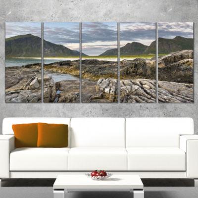 Designart Rocky Coastline on Lofoten Landscape Photography Canvas Print - 5 Panels