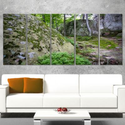 Rocky Deep Moss Forest Ukraine Landscape Canvas Art Print - 5 Panels