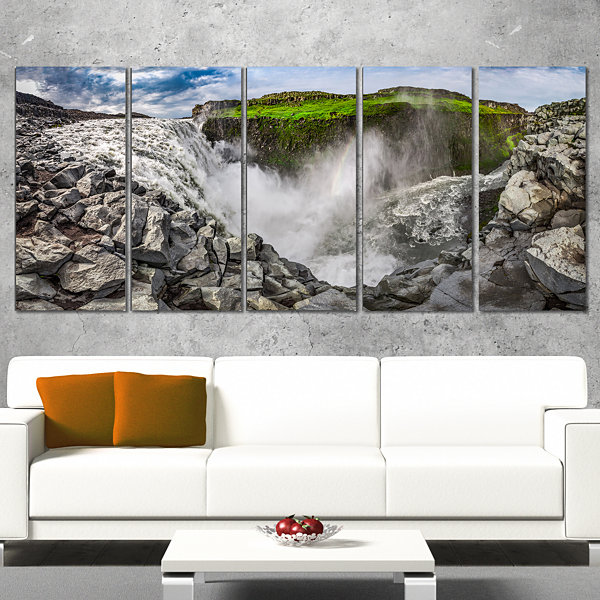 Rocky Dettifoss Waterfall in Iceland Landscape Print Wrapped Artwork - 5 Panels