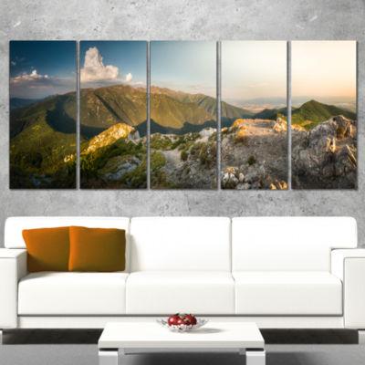 Designart Rocky Green Mountains Panorama LandscapeCanvas Art Print - 4 Panels