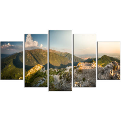 Designart Rocky Green Mountains Panorama LandscapeWrapped Canvas Art Print - 5 Panels