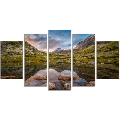 Rocky Lake Above Skok Waterfall Landscape WrappedCanvas Art Print - 5 Panels