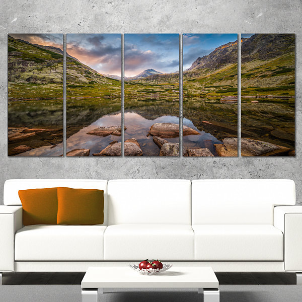 Designart Rocky Lake Above Skok Waterfall Landscape WrappedCanvas Art Print - 5 Panels