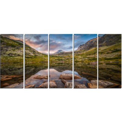Rocky Lake Above Skok Waterfall Landscape Canvas Art Print - 5 Panels
