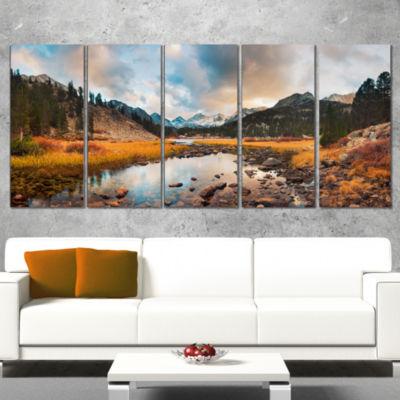 Designart Rocky Lake Sunset Panorama Modern Seashore WrappedCanvas Art - 5 Panels