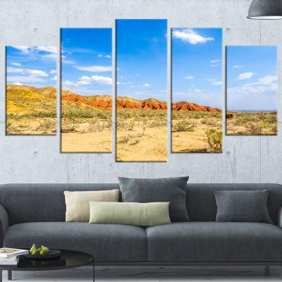 Rocky Mountain in Desert Landscape Photo Canvas Art Print - 5 Panels